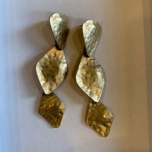 Kenneth Jay Lane gold hammered layered earrings